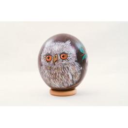 Pisanka sowa- wydmuszka jajko struś, malowana